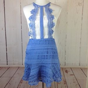 Blue and white lace combo dress